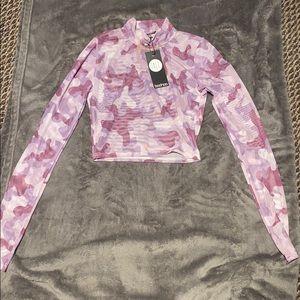 Never worn crop top long sleeve mesh